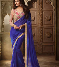 Buy Blue embroidered georgette saree with blouse bridal-saree online