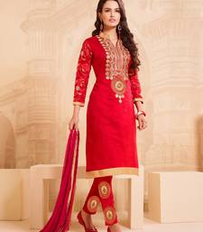 Buy Red Chanderi Embroidered Straight Suit Dress Material dress-material online