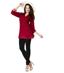 Buy Hypnotexmaroon Cotton Kurti Chori5B kurtas-and-kurti online