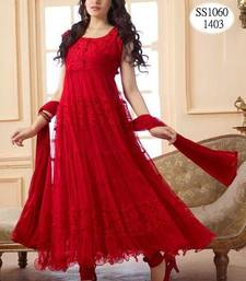 Buy Red Hot Long Anarkali Suit - Designer salwar kameez  anarkali-salwar-kameez online