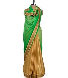 Buy Neon Green with gold foil diva look crepe-saree online
