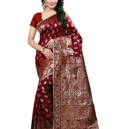 Buy Light maroon hand woven cotton silk saree with blouse banarasi-saree online