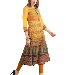 Buy Multicolor printed dupion silk party-wear-kurtis party-wear-kurti online