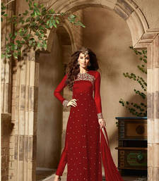 Buy Red georgette embroidered semi stitiched salwar with dupatta semi-stitched-salwar-suit online