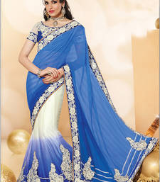 Buy Blue embroidered chiffon saree with blouse one-minute-saree online