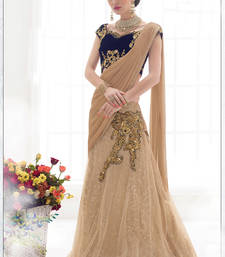 Buy Beige embroidered net saree with blouse one-minute-saree online