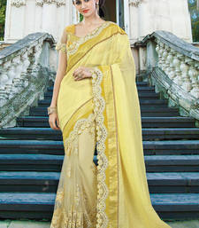 Buy Yellow embroidered chiffon saree with blouse one-minute-saree online