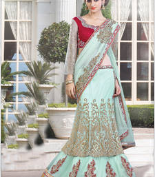 Buy Sky blue embroidered satin saree with blouse one-minute-saree online