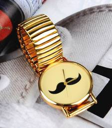 Buy Gold Chained Moustache Watch watch online