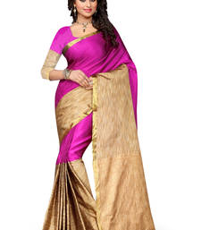 Buy Pink plain cotton silk saree with blouse patola-sari online