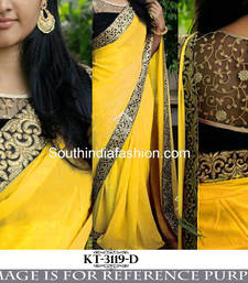Buy Yellow embroidered georgette saree with blouse heavy-work-saree online