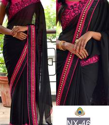 Buy Black embroidered georgette saree with blouse eid-saree online