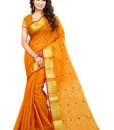 Buy Orange plain cotton silk saree with blouse patola-sari online