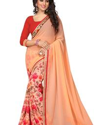 Buy Orange printed chiffon saree with blouse cotton-saree online