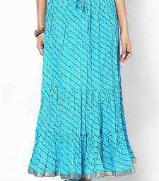 Buy Stylish Cotton Sky Blue Printed Skirt skirt online