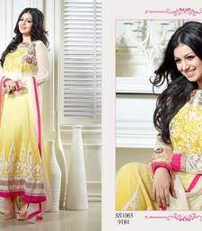 Buy Long Anarkali salwar kameez - Ayesha Takia Yellow and White Dress anarkali-salwar-kameez online