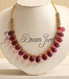 Buy BEAUTIFUL SEMI PRECIOUS PINK BEADED DESIGNER NECKLACE Necklace online