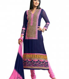 Buy navy_blue embroidered georgette semi stitched salwar with dupatta cotton-salwar-kameez online