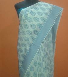 Buy Blue block print saree cotton-saree online