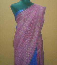 Buy pink checkered saree jute-saree online