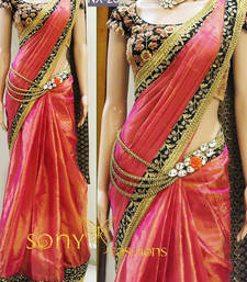 Buy Multicolor embroidered paper cotton saree with blouse heavy-work-saree online