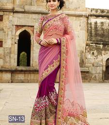 Buy Magenta embroidered net saree with blouse wedding-saree online