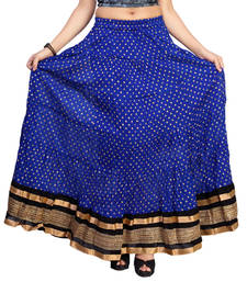 Buy Blue cotton printed free size skirts long-skirt online