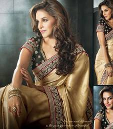Buy Designer Golden Georgette Latest Saree with contrasting blouse.5306. georgette-saree online