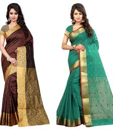 Buy Multicolor plain cotton silk saree with blouse wedding-saree online