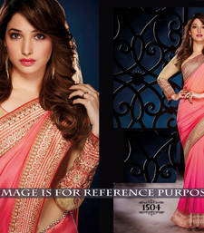 Buy Pink embroidered georgette saree with blouse tamanna-bhatia-saree online