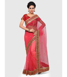 Buy Peach embroidered net saree with blouse diwali-discount-offer online