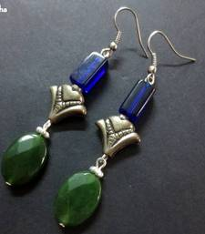 Buy Green_Oval_Agate_Silver_Blue_Earrings danglers-drop online