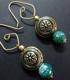 Buy Golden_Antique_Designer_Hook_Green_Agate_Earrings danglers-drop online