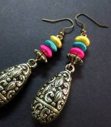 Buy Antique_Drop_Pink_Blue_Yellow_WB_Earrings danglers-drop online