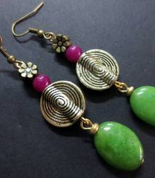 Buy 10_Green_Oval_Agate_Pink_Antique_Coin_Earrings danglers-drop online