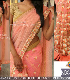 Buy Light pink embroidered georgette saree with blouse party-wear-saree online