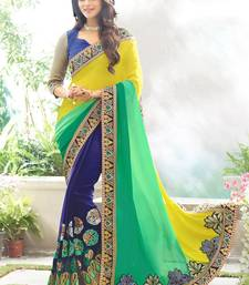 Buy Multicolor embroidered faux-georgette saree with blouse heavy-work-saree online