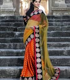 Buy Orange viscose saree with unstitched blouse (bwd905) viscose-saree online