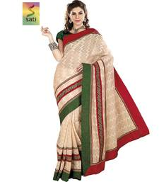 Buy SATI Cream Coloured Fancy Saree With Red And Green Border cotton-saree online