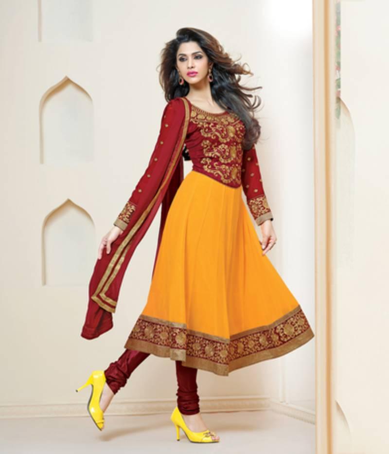 buy delightful maroon and yellow anarkali salwar suit online