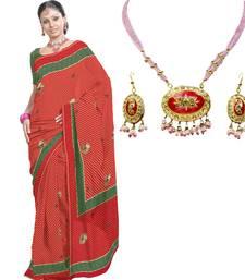Buy Buy Kota Doria Saree n Get Pink Necklace Set Free cotton-saree online