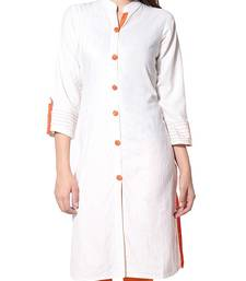 Buy White plain cotton kurtas-and-kurtis long-kurti online