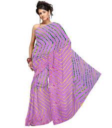 Buy Fancy Pink Lehariya Designer Moss Crepe Saree 184 crepe-saree online