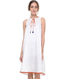 Buy Women's Designer White Pure Cotton Cambric Dress dress online