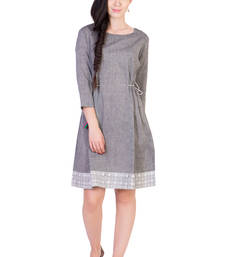 Buy Women's Designer Grey Mangalgiri Tunic With Printed Border tunic online