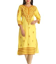 Buy Yellow embroidered cotton kurtas-and-kurtis chikankari-kurti online