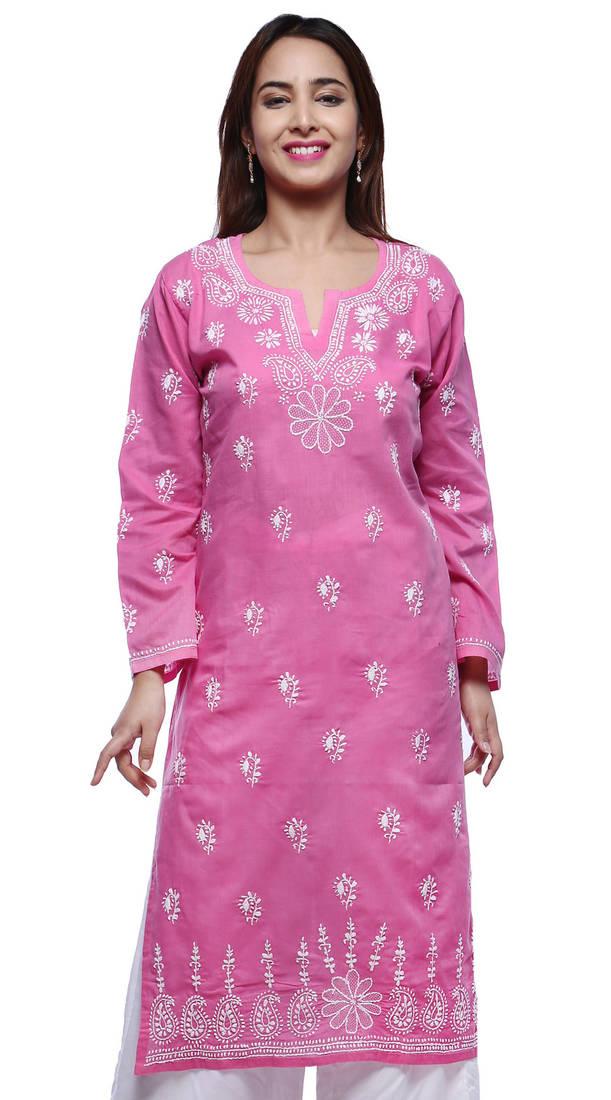 Buy Pink Embroidered Cotton Kurtasandkurtis Online