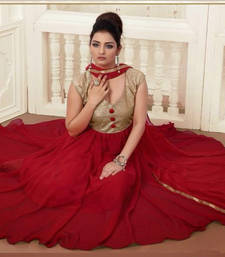 Buy Gorgeous Attires Designer Maroon Georgette Anarkali Suit semi-stitched-salwar-suit online