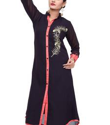 Buy Black embroidered georgette long-kurtis long-kurti online