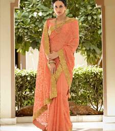 Buy Peach embroidered georgette saree with blouse organza-saree online